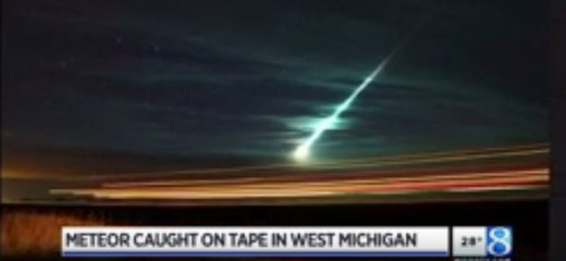 green meteor fireball over Michigan