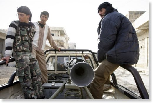 Syrian rebels with a SPG-9 rocket launcher in 2012.