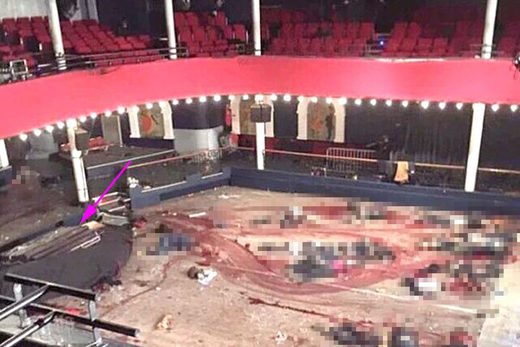 Alleged photograph of the Bataclan right after the attack