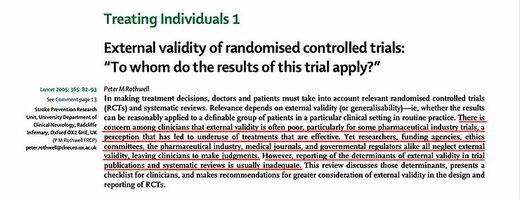 external validity randomised controlled trials