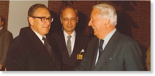 Henry Kissinger and his former pupil, Klaus Schwab, welcome former- UK PM Ted Heath at the 1980 WEF annual meeting.